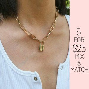 5 for $25 Gold Color Lock Charm Necklace
